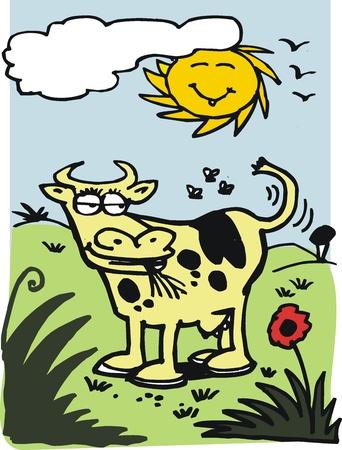 Cartoon of cow in field Stock Vector - 19255682