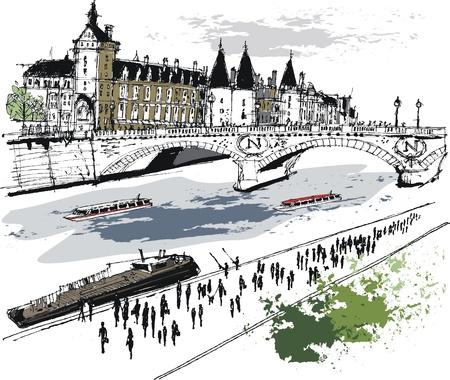 seine: Vector illustratie van de gebouwen in Parijs Frankrijk.