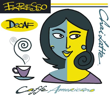 chai: Vector cartoon of woman with coffee cup