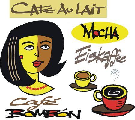 cafe bombon: Vector de dibujos animados de la mujer con signos de café y una taza