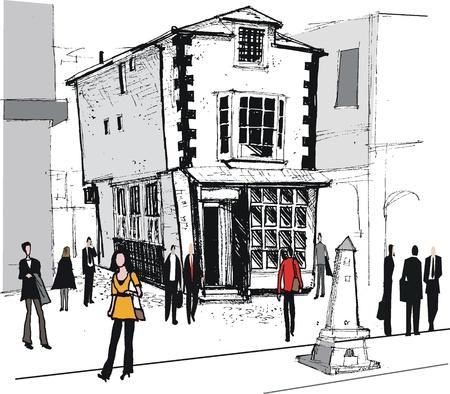 Vector illustration of old historic building, Windsor England