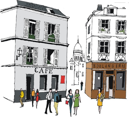 Vector illustration of old buildings, Montmartre, France