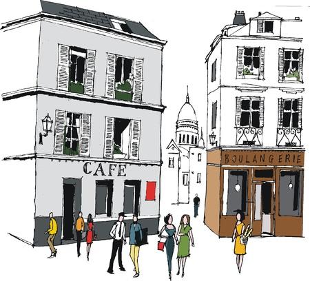 boulangerie: Vector illustration of old buildings, Montmartre, France