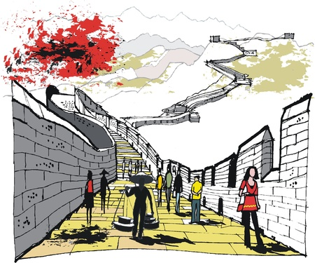 rendition: Vector illustration of pedestrians on Great Wall, China Illustration