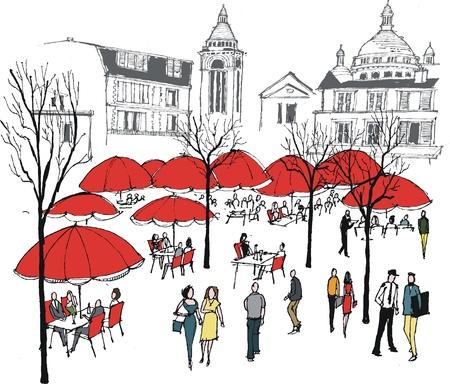 Vector illustratie van de mensen in openlucht cafe, Montmartre, Frankrijk
