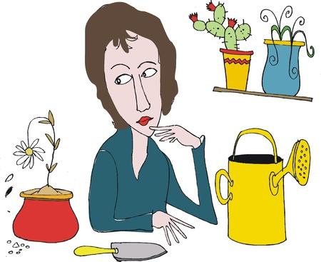 woman gardening: Vector cartoon showing woman doing gardening tasks