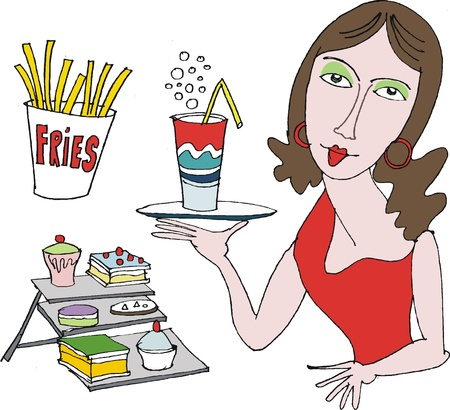 Vector cartoon of woman with milkshake and fries Vector