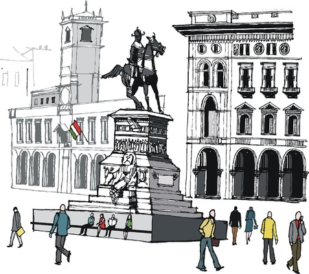 del: Vector illustration of pedestrians in city square, Milan, Italy Illustration
