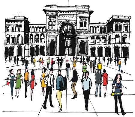 arquitectura: Ilustración vectorial de la gente en la plaza de la ciudad, Milán, Italia