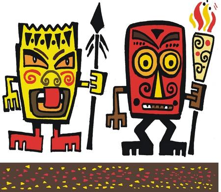 warlike: cartoon of fierce native carved faces