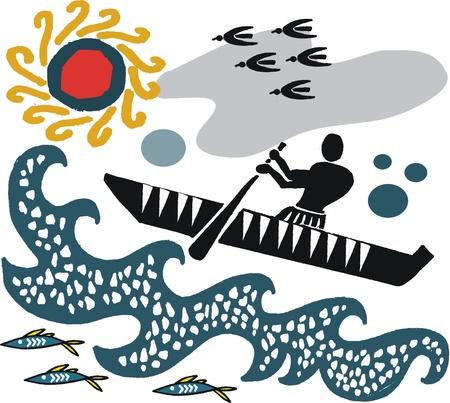 Vector illustration of native paddling canoe in rough seas Stock Vector - 20400961