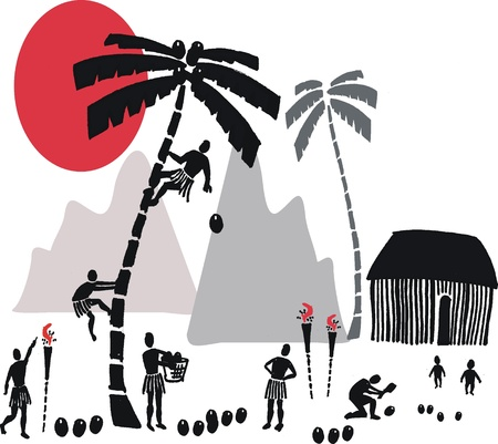 shack: illustration of natives harvesting coconuts from palm trees