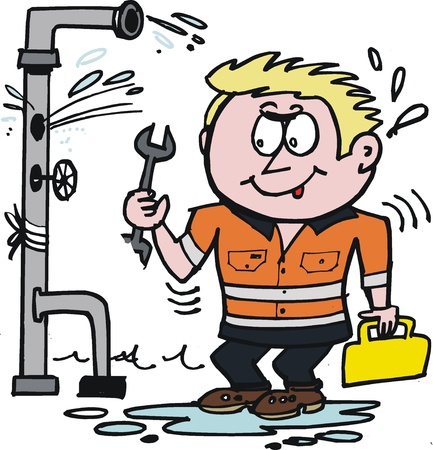 tradesman: cartoon of plumber fixing leaky pipe  Illustration