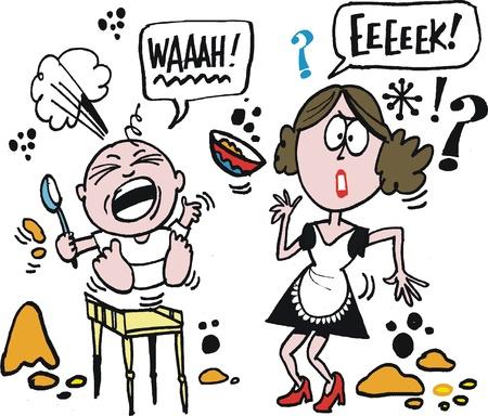 泣いている赤ん坊をイライラする母親のベクトルの漫画  イラスト・ベクター素材