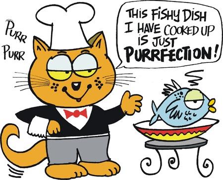 happy cat: Vector Cartoon von gl�cklichen Katze mit Fischgericht Illustration