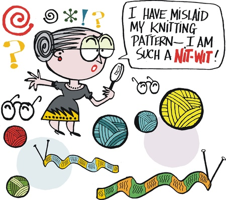 ball of wool: Vector cartoon of grandmother looking for knitting pattern