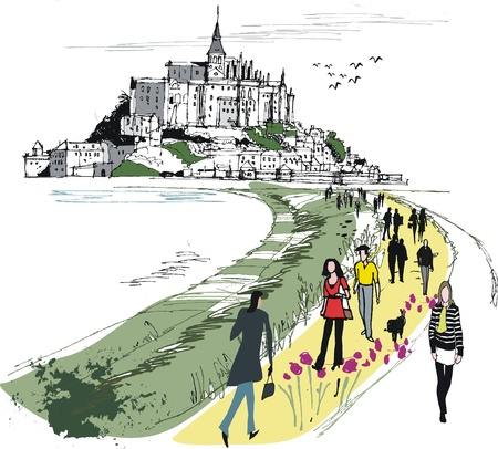 church group: Vector illustration of Mont St  Michel monastery, France