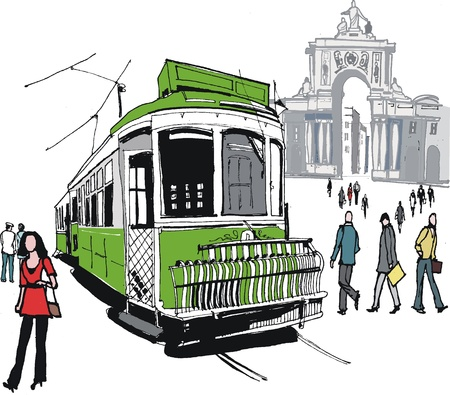 lisbon: Vector illustration of Lisbon tram, Portugal