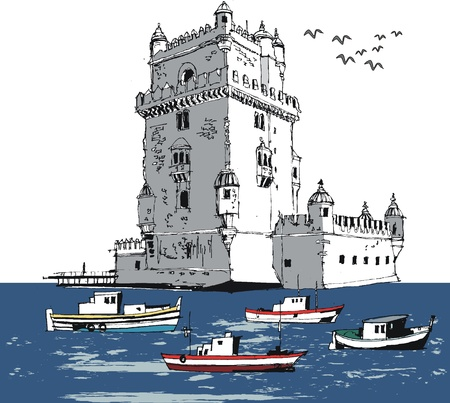 turret: Vector illustration of old river tower, Lisbon Portugal Illustration