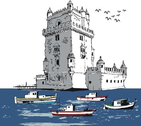 Vector illustration of old river tower, Lisbon Portugal