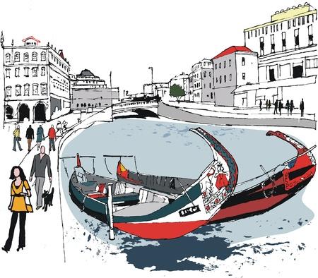 アヴェイロは、ポルトガルの運河沿いのボートのイラスト