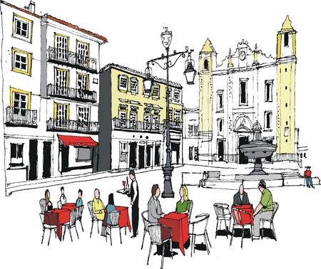 at town square: illustration of outdoor cafe, Evora, Portugal Illustration