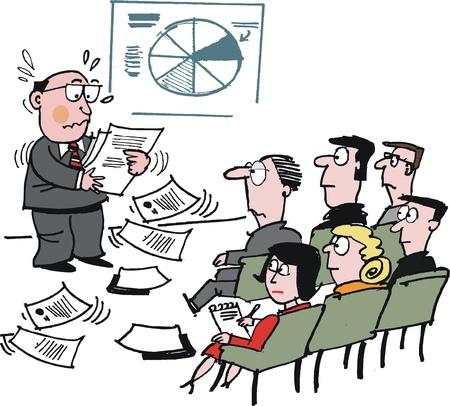 Vector cartoon van de man rommelen toespraak merkt op vergadering