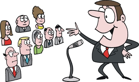 lectures: Vector cartoon of confident public speaker