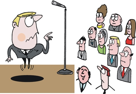 Vector cartoon of executive with microphone at meeting Vector