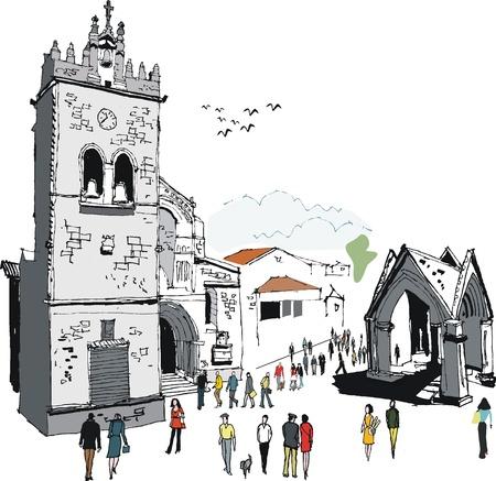 pajaro  dibujo: Ilustración vectorial de la antigua iglesia y la gente, Portugal