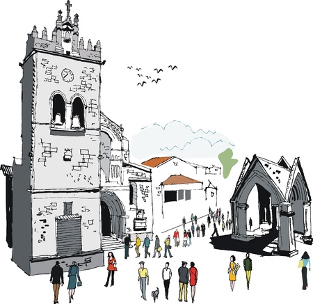 oiseau dessin: Vector illustration de la vieille église et le peuple, Portugal Illustration