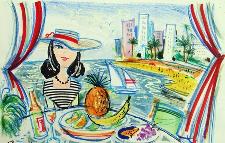 overlooking: Illustration of woman sitting at table with fruit overlooking tropical beach resort scene