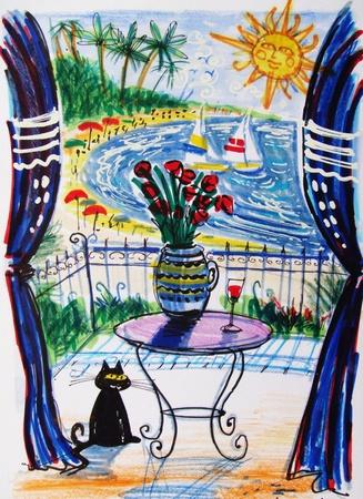 overlooking: Illustration of black cat on resort balcony overlooking tropical beach