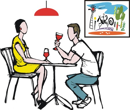 Vector illustration of man and woman drinking wine at table Stock Vector - 23009735