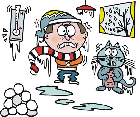 Vector cartoon de l'homme frissonnant avec chat dans le froid de l'hiver Vecteurs