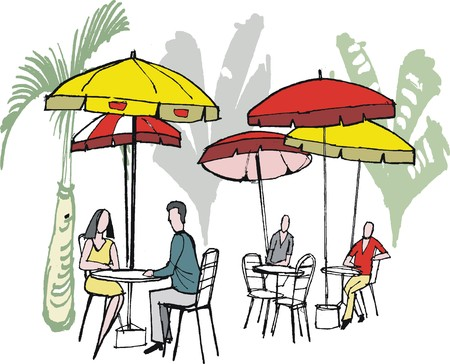 outdoor cafe: Vector illustration of people sitting at outdoor cafe with sun umbrellas