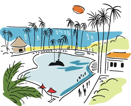 beach hut: Vector illustration of tropical beach resort with palm trees