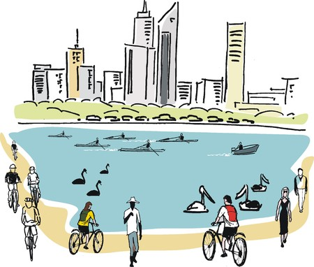 walking path: Vector illustration of city skyline, rowers and cyclists, Perth Australia