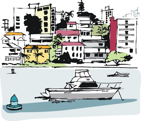 mooring: Vector illustration of wealthy homes at Double Bay, Sydney Australia Illustration