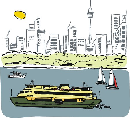 Vector illustration of ferry on Sydney harbor, Australia