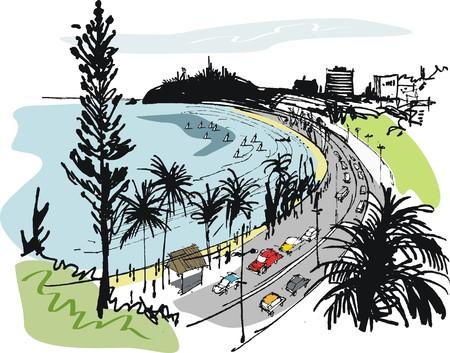 Vector illustration of traffic along promenade at Anse Vata beach, New Caledonia