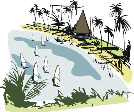 thatched: Vector illustration of windsurfers at tropical beach, New Caledonia Illustration