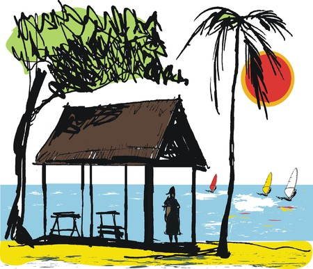 thatched: Vector illustration of thatched hut shelter, New Caledonia, South Pacific