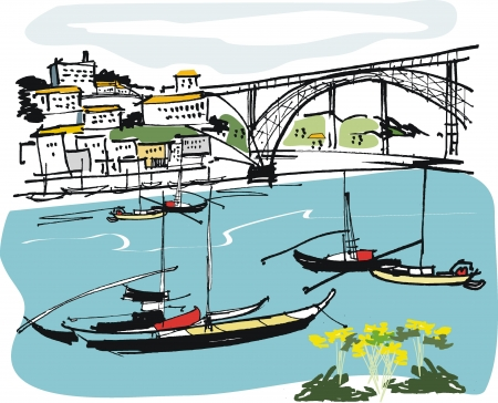 viaduct: Vector illustration of boats at anchor, Oporto Portugal   Illustration
