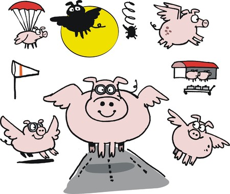 Vector cartoon of flying pigs at airport   Vector