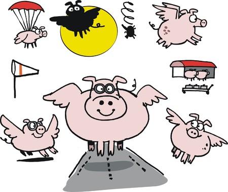 aeronautical: Vector cartoon of flying pigs at airport   Illustration