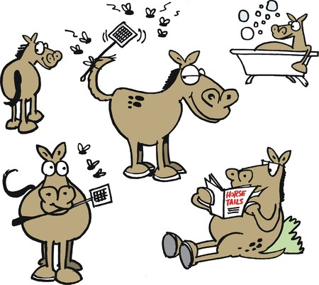 Vector cartoon showing group of funny horses and flies