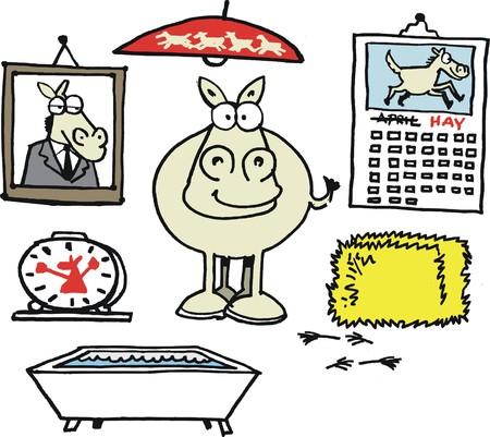 俵: 干し草の安定で幸せな馬のベクトルの漫画  イラスト・ベクター素材