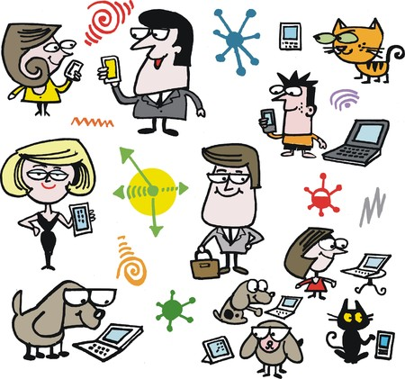 Vector cartoon of family group with wireless devices Stock Vector - 23863452
