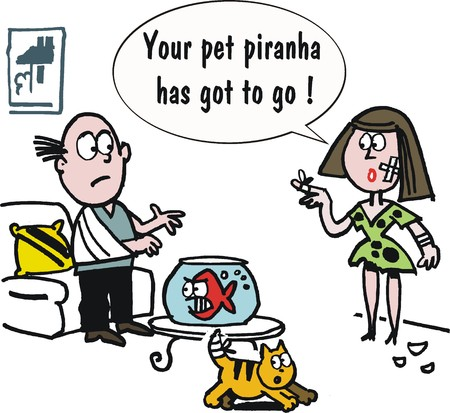 fish bowl: Vector cartoon of man and woman feeding piranha fish